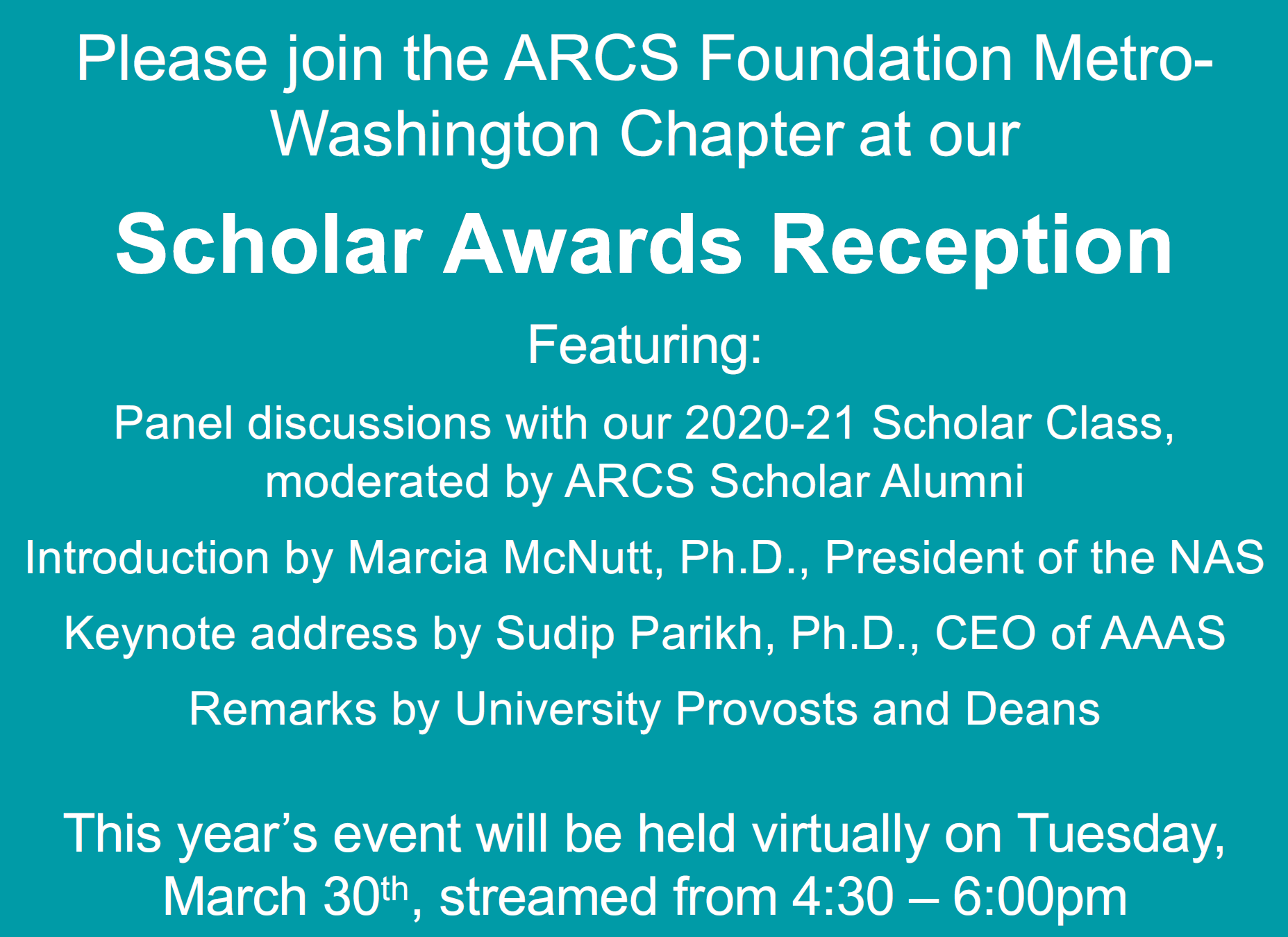 ARCS-MWC 2021 Scholar Award Reception